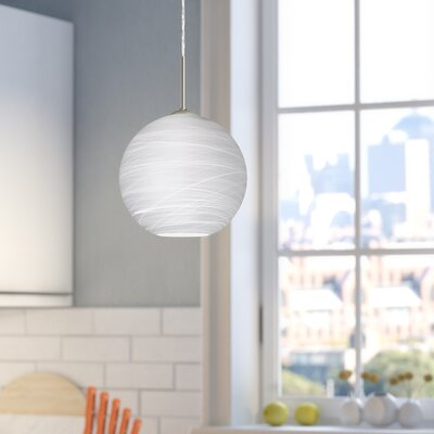 Speth 1-Light Cocoon Globe Pendant Base Finish: Satin Nickel, Size: 7.5 H x 7.88 W x 7.88 D