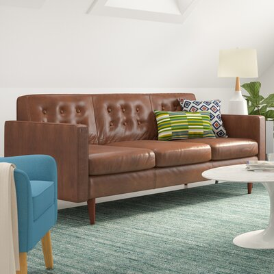 Trevor Mid Century Modern Leather Sofa