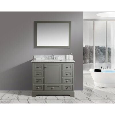 Constance 42 Single Bathroom Vanity Set with Mirror Finish: Distressed Gray
