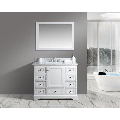 Constance 42 Single Bathroom Vanity Set with Mirror Finish: White