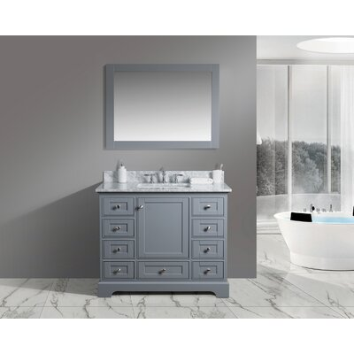 Constance 42 Single Bathroom Vanity Set with Mirror Finish: Charcoal
