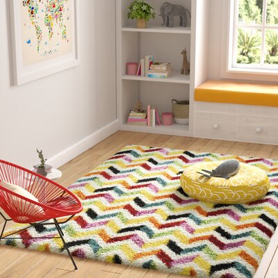 Kids Yellow/Red Area Rug Rug Size: Rectangle 53 x 76