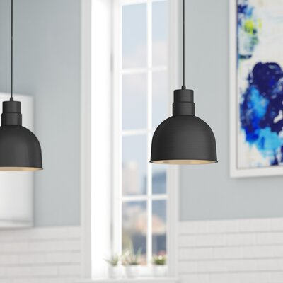 Theta 1-Light Kitchen Pendant Finish: Satin Black