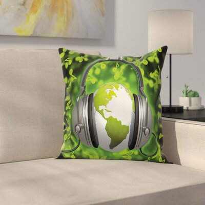 Headphones Music Globe Square Pillow Cover Size: 18