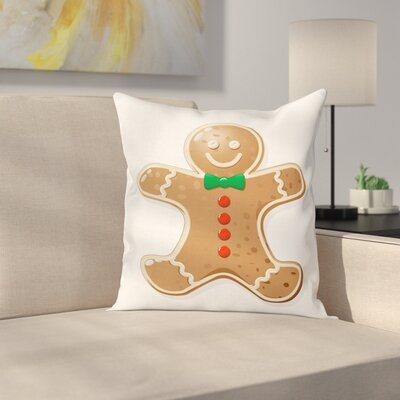 Gingerbread Man Iconic Treats Square Pillow Cover Size: 18 x 18