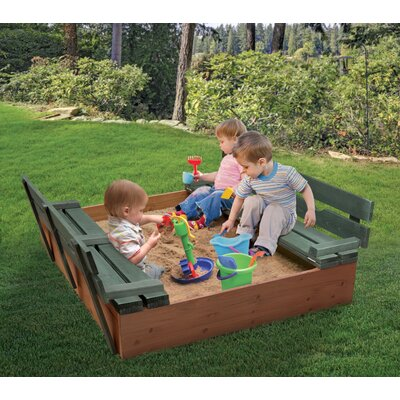 Cedar 4' Rectangular Sandbox Color: Natural/Green