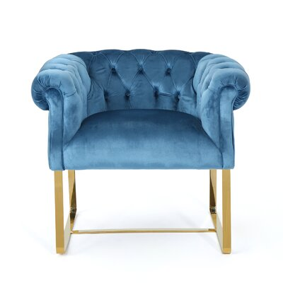 Sprenger Club Chair Upholstery: Aqua, Finish: Gold