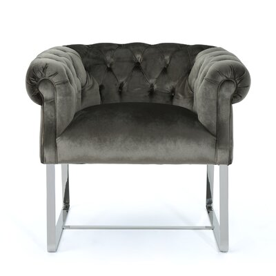 Sprenger Club Chair Upholstery: Gray, Finish: Chrome