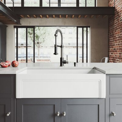 All-In-One Casement 36 x 18 Farmhouse/Apron Kitchen Sink with Faucet