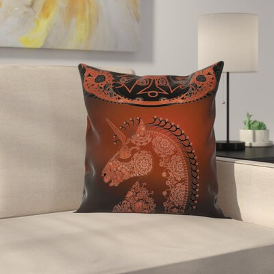 Unicorn Vintage Mandala Indian Square Pillow Cover Size: 18 x 18
