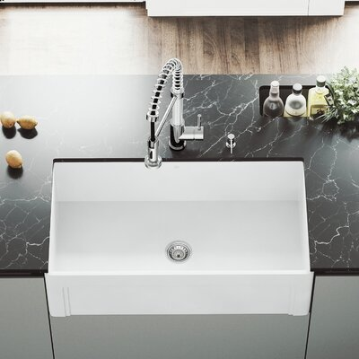 All-In-One Casement Front 36 x 18 Farmhouse/Apron Kitchen Sink with Faucet