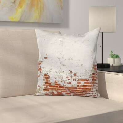 Aged Vintage Brick Wall Square Pillow Cover Size: 16 x 16