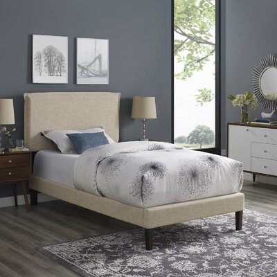 Craighead Upholstered Platform Bed Color: Beige, Size: Twin