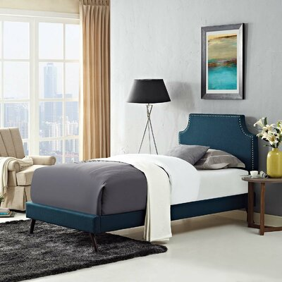 Craighead Twin Upholstered Platform Bed Color: Azure