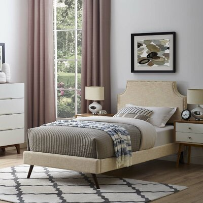Craighead Twin Upholstered Platform Bed Color: Beige