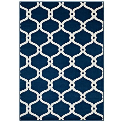 Dilorenzo Chain Link Transitional Trellis Moroccan Blue/Ivory Area Rug Rug Size: 5 x 8