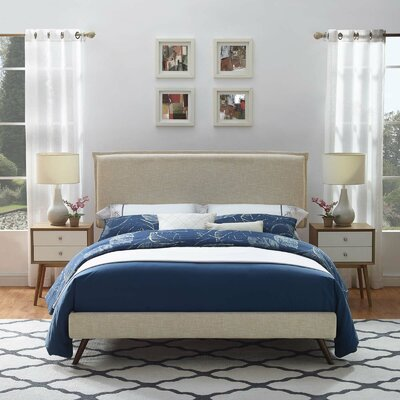 Craighead Upholstered Platform Bed Color: Beige, Size: Full/Double