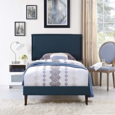 Craighead Upholstered Platform Bed Color: Azure, Size: Twin