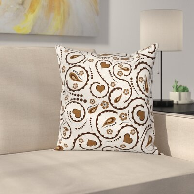 Love Heart Swirls Dots Cushion Pillow Cover Size: 16 x 16