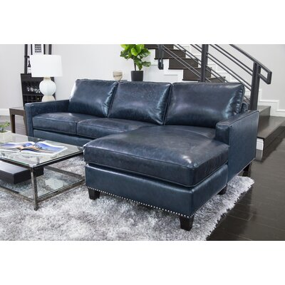Samatha Leather Sectional Upholstery: Blue
