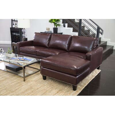 Samatha Leather Sectional Upholstery: Brown