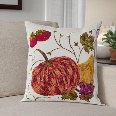 Kapitz Embroidered Pumpkin Harvest Design Thanksgiving Cotton Throw Pillow