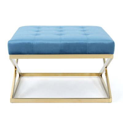 Sprenger Cocktail Ottoman Upholstery: Aqua, Finish: Gold