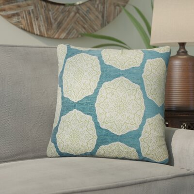 Aurick Geometric Cotton Throw Pillow Color: Aqua/Green
