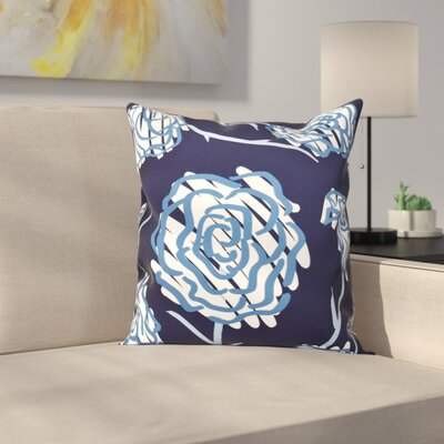 Aletha Spring Floral 2 Print Throw Pillow Size: 16 H x 16 W, Color: Navy Blue