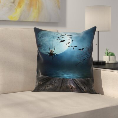 Halloween Decor Lake Scene Bat Square Pillow Cover Size: 16 x 16