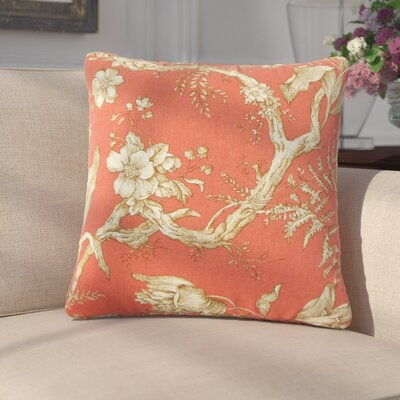 Massima Floral Cotton Throw Pillow Color: Cranberry