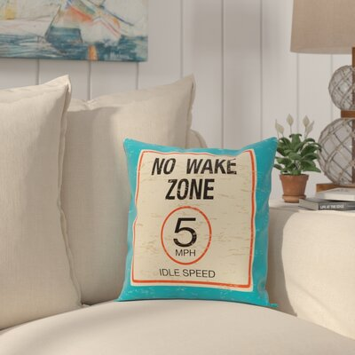 Golden Beach No Wake Word Throw Pillow Size: 18 H x 18 W, Color: Turquoise