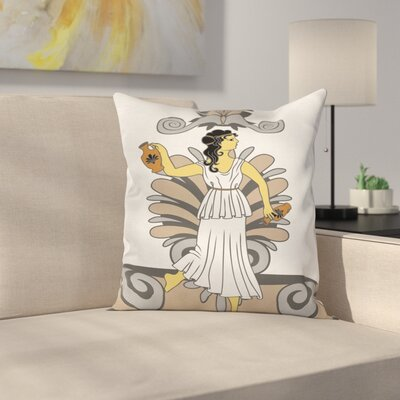Modern Woman with Amphora Square Cushion Pillow Cover Size: 18