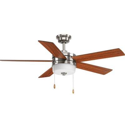 54 Van Nest 5 Blade LED Ceiling Fan Motor Finish: Chrome/White