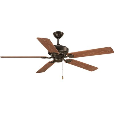 Pennington 5 Blade Outdoor Ceiling Fan Finish: Black with Antique Bronze Blades