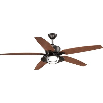 Milmont 5 Blade Outdoor LED Ceiling Fan with Remote Color: Black with Antique Bronze Blades