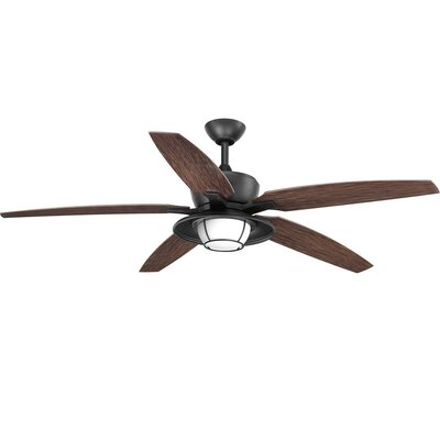 Milmont 5 Blade Outdoor LED Ceiling Fan with Remote Finish: Black with Forged Black Blades