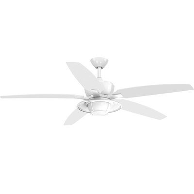 Milmont 5 Blade Outdoor LED Ceiling Fan with Remote Finish: White with White Blades