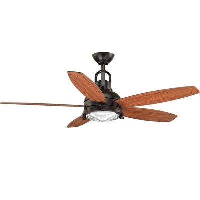 Gehlert 5 Blade LED Ceiling Fan with Remote Finish: Black with Brown Blades