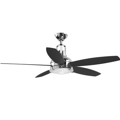 Gehlert 5 Blade LED Ceiling Fan with Remote Finish: Chrome with Black Blades