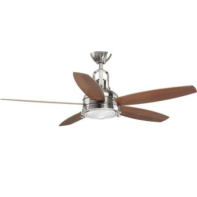 Gehlert 5 Blade LED Ceiling Fan with Remote Finish: Chrome with Brown Blades