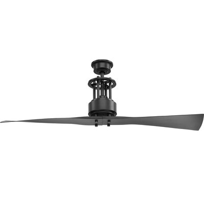 Hilyard 2 Blade Ceiling Fan with Remote Finish: Black with Graphite Blades