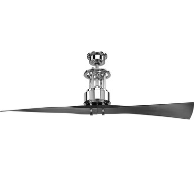 Hilyard 2 Blade Ceiling Fan with Remote Finish: Chrome with Black Blades