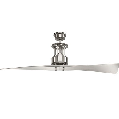 Hilyard 2 Blade Ceiling Fan with Remote Finish: Chrome with White Blades