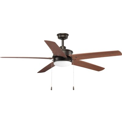 Vanegas 5 Blade Outdoor Ceiling Fan Finish: Black with Antique Bronze Blades
