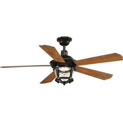 Mueller 5 Blade Outdoor Ceiling Fan with Remote Blade Finish: Antique Bronze