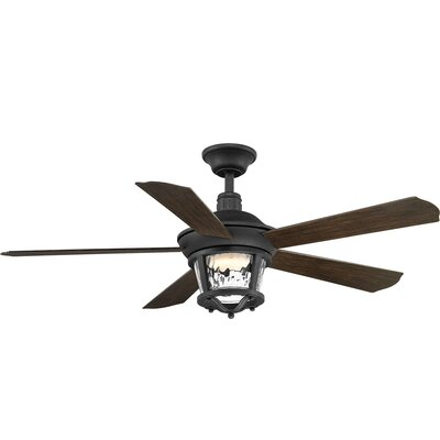 Mueller 5 Blade Outdoor Ceiling Fan with Remote Blade Finish: Forged Black