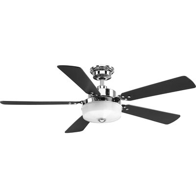 Vanetten 5 Blade LED Ceiling Fan with Remote Finish: Chrome with Black Blades