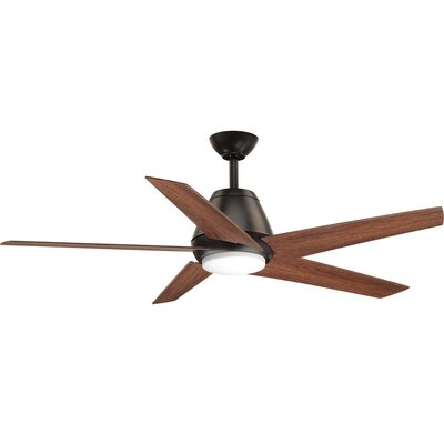 54 Gehring 5 Blade LED Ceiling Fan with Remote Finish: Black with Brown Blades