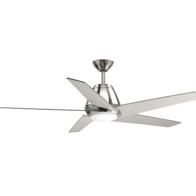 54 Gehring 5 Blade LED Ceiling Fan with Remote Finish: Chrome with White Blades